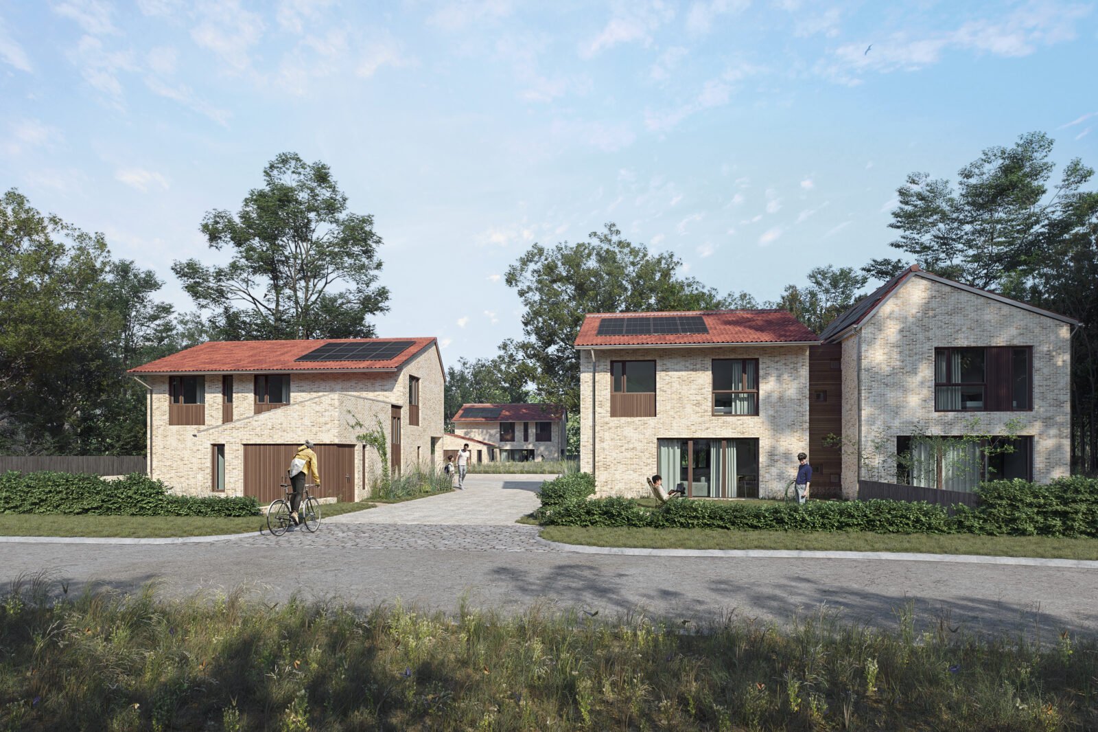 Street view of sustainable houses in Hampshire, New Forest