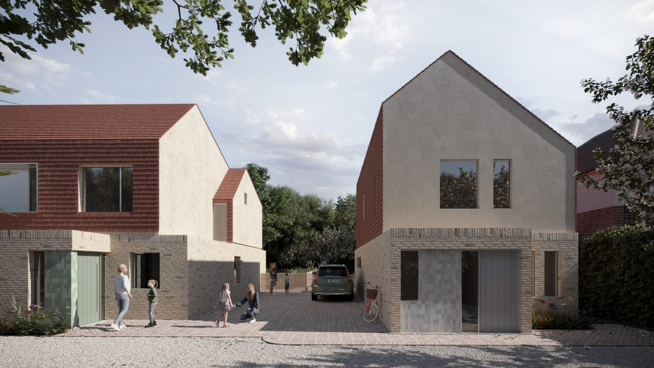 Front view of the sustainable Hampshire Housing development